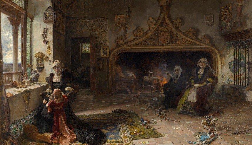 Королева Хуана I Безумная в заключении в Тордесильясе со своей дочерью инфантой Каталиной