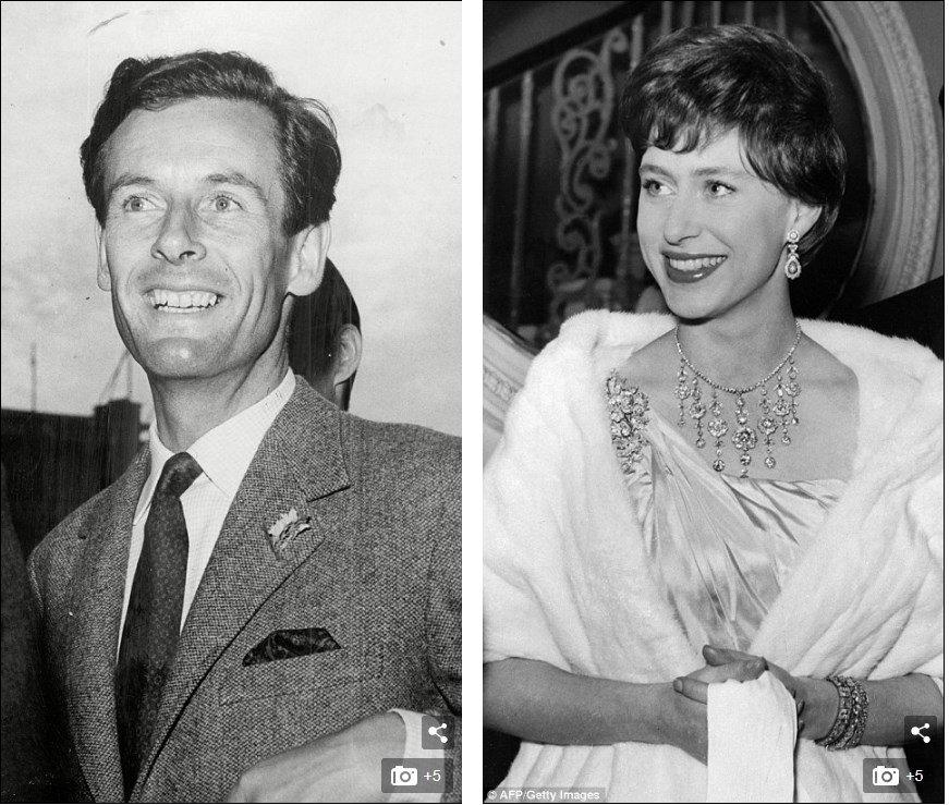 Коттедж Аделаида когда-то был домом для капитана Питера Таунсенда (слева) - любовника принцессы Маргарет (справа)