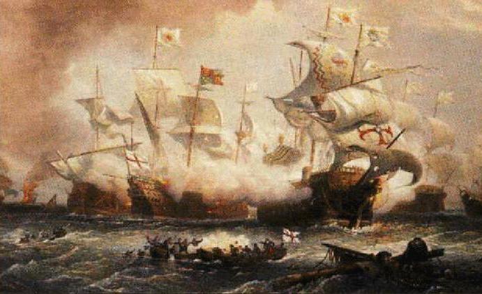 Поражение испанской армады в битве на берегу Ла-Манша