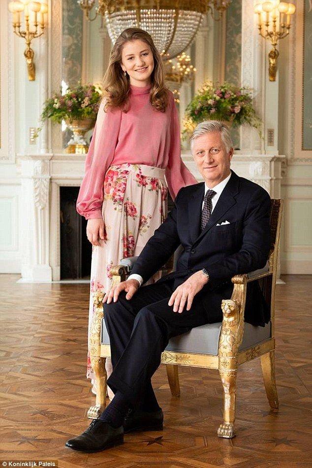 Принцесса Элизабет, герцогиня Брабантская и ее отец Король Бельгии Филипп