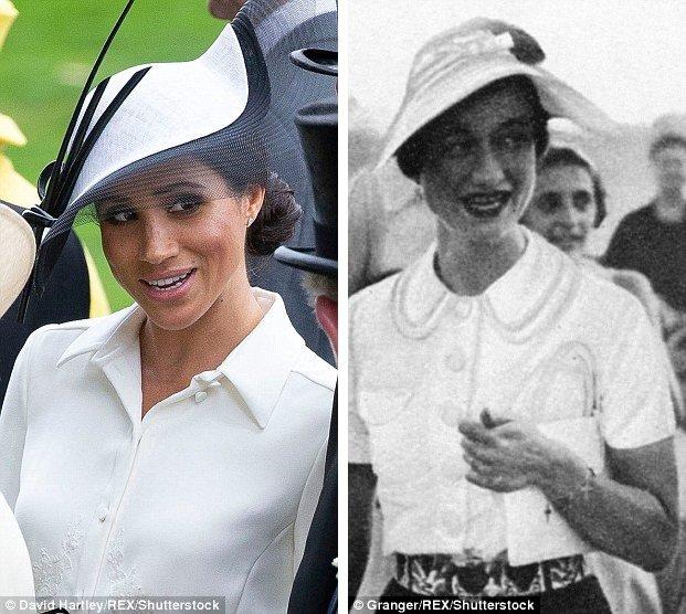 Меган изображен в шляпе Филипа Треаси в Аскотте слева и Уоллис изображен в похожей шляпе на праздник в 1936 году