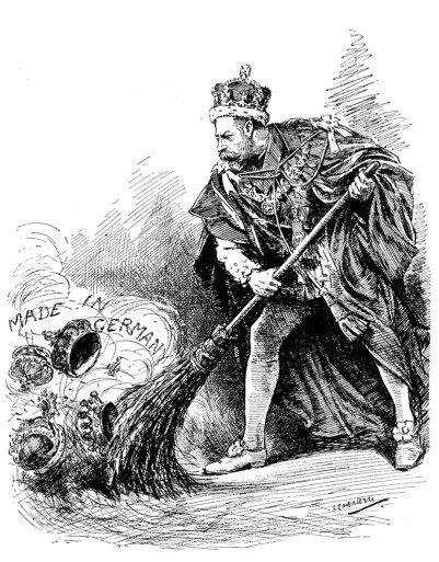 Мультфильм Леонарда Рэйвена-Хилл из Punch, Vol. 152, 27 июня 1917, комментируя приказ короля отказаться от всех немецких титулов, принадлежащих членам его семьи