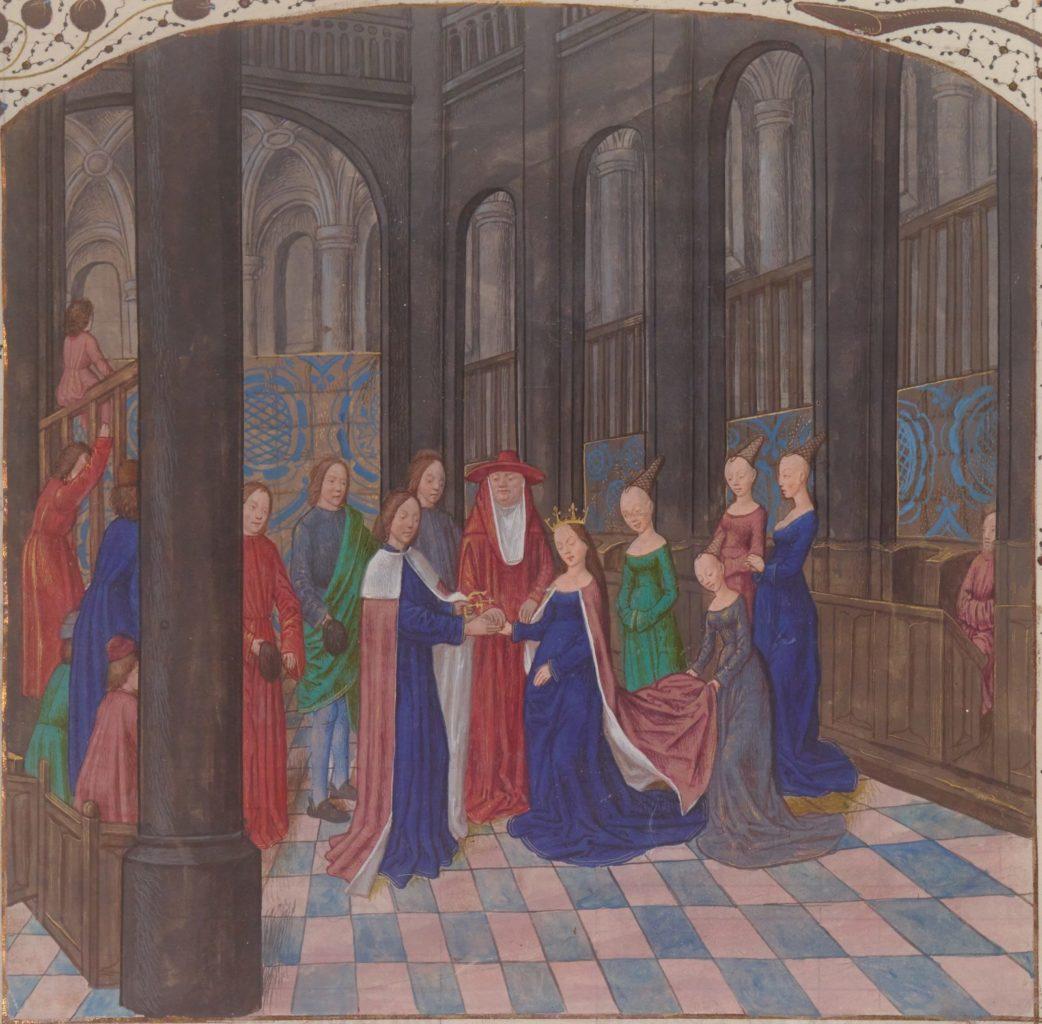 Миниатюра из Древних Хроник Англии, изображающая венчание Эдуарда и Елизаветы. XV век