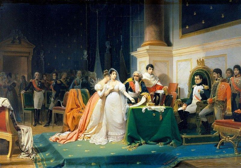 Жозефина подписывает бракоразводный документ