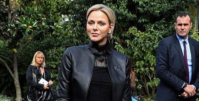 Photo of Княгиня Шарлин выглядела шикарно в черном платье и байкерской куртке