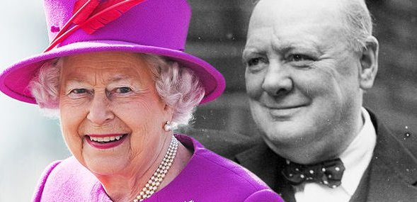 Королева и Уинстон Черчилль